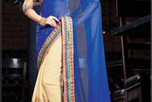 blue with white saree