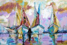 vrolijke schilderijen boten
