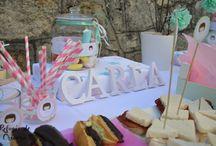 Candybar menta y rosa para comunion.