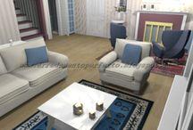 Ingresso-soggiorno provenzale / Progetto in grafica 3D di un ampio ingresso/soggiorno in stile provenzale