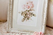 Interiors: pink tan cream white pearl shabby french country