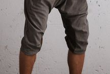 Drop Crotch Twill Cargo Pants For Men With Elastic Waist And Drawstring