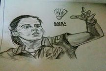 Chetu arts / The only one badminton champion of India. This is the sketch of saina nehwal made by chetan Joshi. My website is www.kalaraag.com visit on that for others paintings and sketches.