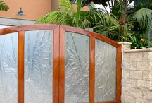 Gates and Garage Doors / Outdoor gates are an important part of the exterior of your home, so why not make it attractive? Using cast glass for your garage door or exterior gate can provide privacy and increase your curb appeal at the same time!