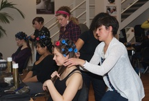 Create Beautiful Hair - In training  / Trainee hairstylists being trained by Pam Wrigley on one of her create beautiful hair 3 day bridal hairstyling courses in Manchester