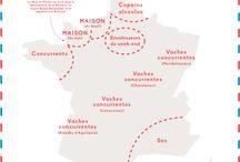 Cartes de la France, avec différents points de vue