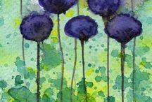 Ακουαρέλες με λουλούδια