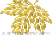 LEAF*CROSS STITCH-EMBROIDERY