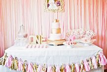 cake table and  backdrop decorations