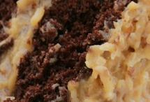 German Chocolate Cookie and top of Cake