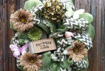Burlap, wreaths and Decor
