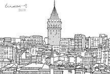 İSTANBUL / İstanbul'un gerdanından öptük.Eşsiz yerlerinden bazılarının illustrasyonlarını çizdik.Umarız beğenirsiniz