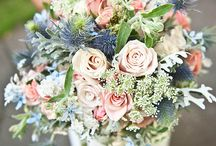 Chateau pink and navy wedding with touch of meadow