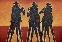 MINIMAL WESTERN ART / Minimal Western Cowboys on tall horses by Arizona Cowboy and Cowgirl Artist Lance Headlee. Original contemporary paintings available at http://lanceheadlee.com