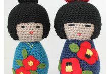 Kokeshi / panenky kokeshi - háčkované, šité