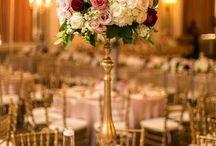 Pillar Holders / Wedding Centerpieces, gold pillar, candle holders, wood candle holders