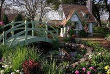 wood garden bridge