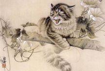 КОТЯТА В СТИЛЕ ГОХУА / Гохуа – традиционная техника и стиль китайской живописи тушью и водяными красками на свитках из шелка или рисовой бумаги, в чем-то близкая к каллиграфии.Живые кошки Сюй Синьци (гохуа) (или же автором является Mi Chunmao - сие загадка...)