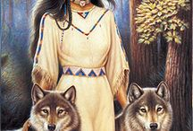 native american and wolves