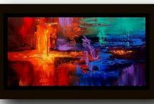 abstracto naranja/azul/verde