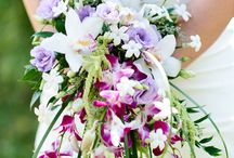 Exotic Purples / Beca and Eric brought a touch of the tropics to their St. Louis wedding with purple dendrobium orchids, soft pink cymbidium orchids, and plenty of lush amaranthus.  Photos by Kelly Pratt Photography (kellyprattphoto.com).