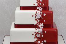 Red & White Wedding cakes