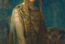 Der Märchenkönig ~ Act II: Parsifal ~ / Ispirazioni per il mio abito del gala Der Märchenkönig. Ho scelto il secondo tema, ed il mio abito si ispirerà al quadro di Gaston Bussière, La coupe, Iseult. Sarà oro, bianco perla e blu. Il modello si rifà all'epoca Bizantina.