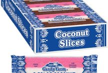 Coconut Slice Candy Bars (24 individually wrapped 1.65oz coconut bars per box)