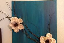Bloem op canvas