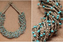 jewelry / Crocheted necklace with beads