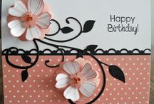 Pink black and white birthday card