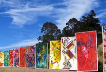 our fun - Tiburon Art Festival / If you'd like a walk to remember - park at Blackie's Pasture and head out along the water towards downtown Tiburon, CA.  Between the huge canvases of art blowing in the wind and the gorgeous views - quite picturesque