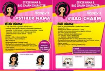 happy's catalog / terima pesanan stiker nama waterproof - bag tag - bag charm character - kartu ucapan