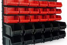 Plastic Storage Boxes Wall Mounted Bin Garage Work Shop Place Organizer Kit Home