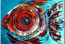 Abstract oil painting fish