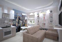 Интерьер в бежевых тонах / Дизайн-проект интерьера 2-комнатной квартиры (около 65 кв.м)