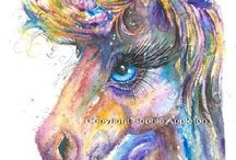 Unicorn Art / Unicorn horse painting watercolour and pen By Sophie Appleton. Art for sale £13.95 each, post worldwide . On the 'Art 4 SALE' page of www.sixfootsophie.co.uk