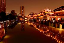 Shengli River Food Street Hangzhou / This is a collection of night views of Shengli River Food Street in Hangzhou. More to read - http://www.mildchina.com/hangzhou-travel/shenglihe-food-street.html