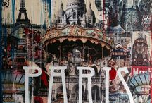 """Paris / Mixed media painting """"Paris"""" 120 cm x 120 cm. For sale."""