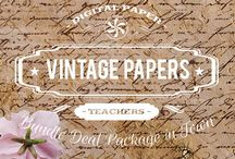 VINTAGE PAPERS / DIGITAL PAPERS - VINTAGE PAPERS  BY DIGITAL PAPER SHOP