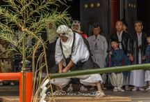 Bamboo Cutting Ceremony at Kurama dera in Kyoto. / At 2 in the afternoon, clear sounds of a horagai (conch-shell trumpet) announces the opening of this ceremony. Then, 8 Yamabushi (山伏) monks who put on black and white costumes, white hood and straw sandals rushed on the stage and separate into 2 teams. One is Omi-za (Omi Team) representing the Omi District and the other is Tamba-za (Tamba Team) representing the Tamba District.