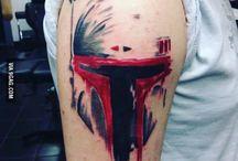 Bobba Fett trash polka tattoo