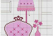 Cross stitch bedroom