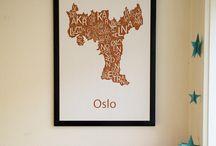 www.designbyodd.no / Her Design by Odd sine plakater med typografiske kart av norske byer!