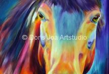Colourful Horses by Doris Joa / It makes fun to create bold colours with my oil paints