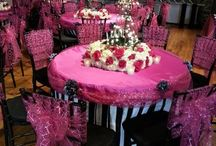 Sweet 16 Birthday Party / Our custom linen, chair treatments, accessories for a Sweet 16 Birthday Party.