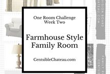 Family Room Inspiration / Family Room Ideas for our living room remodel. We will be incorporating a wood wall, ikea furniture, a new rug, and many DIY projects for the One Room Challenge
