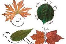 tekenen met herfstbladeren