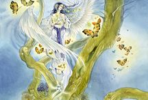 Angels / Paintings, illustrations and art about the Beings of Nature of the Air element (Spirits of nature, Elementals, Petit Peuple, Sidhe, émanants): Angels.