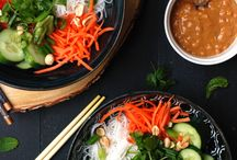 Spring roll, Quinoa, fruit and Salad bowls